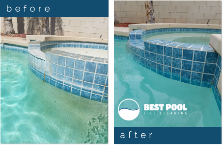 Before and After images of Best Pool Tile Cleaning work